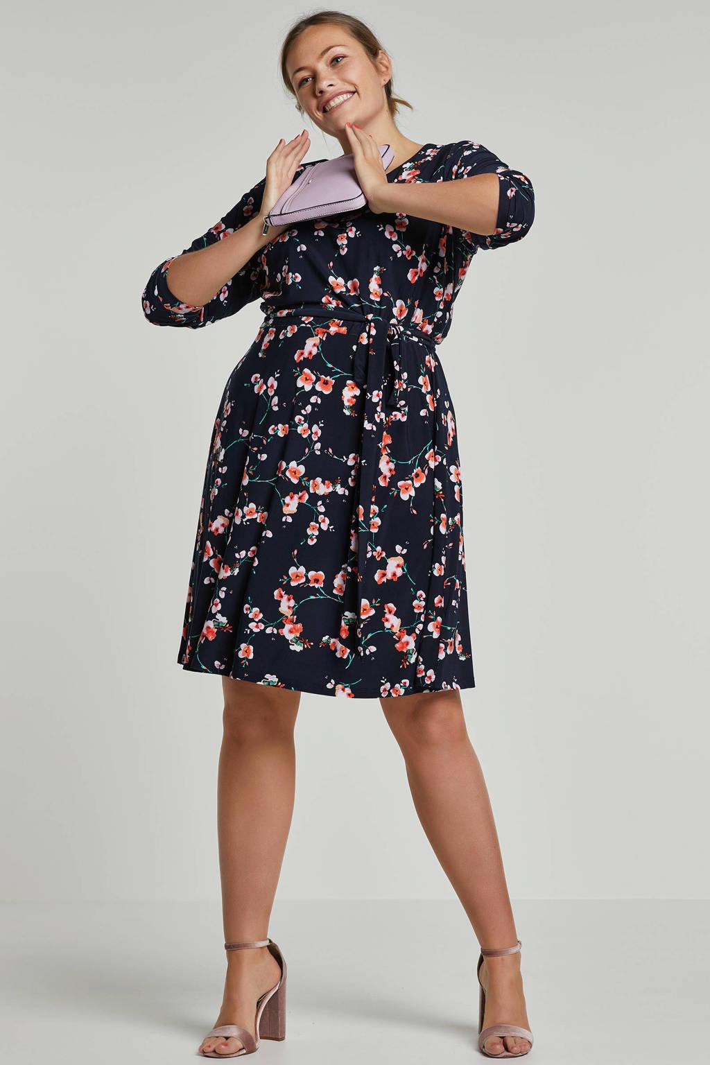 Lauren Woman gebloemde jurk, donkerblauw/roze/groen
