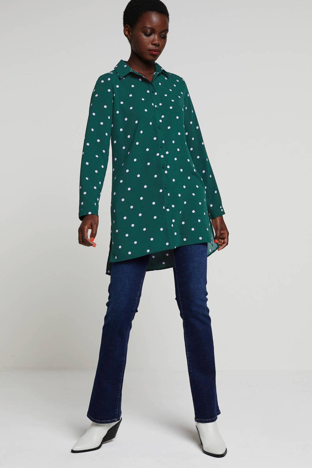 wehkamp blouse met stippen groen/lila, Groen/lila