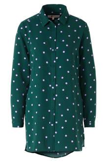 blouse met stippen groen/lila