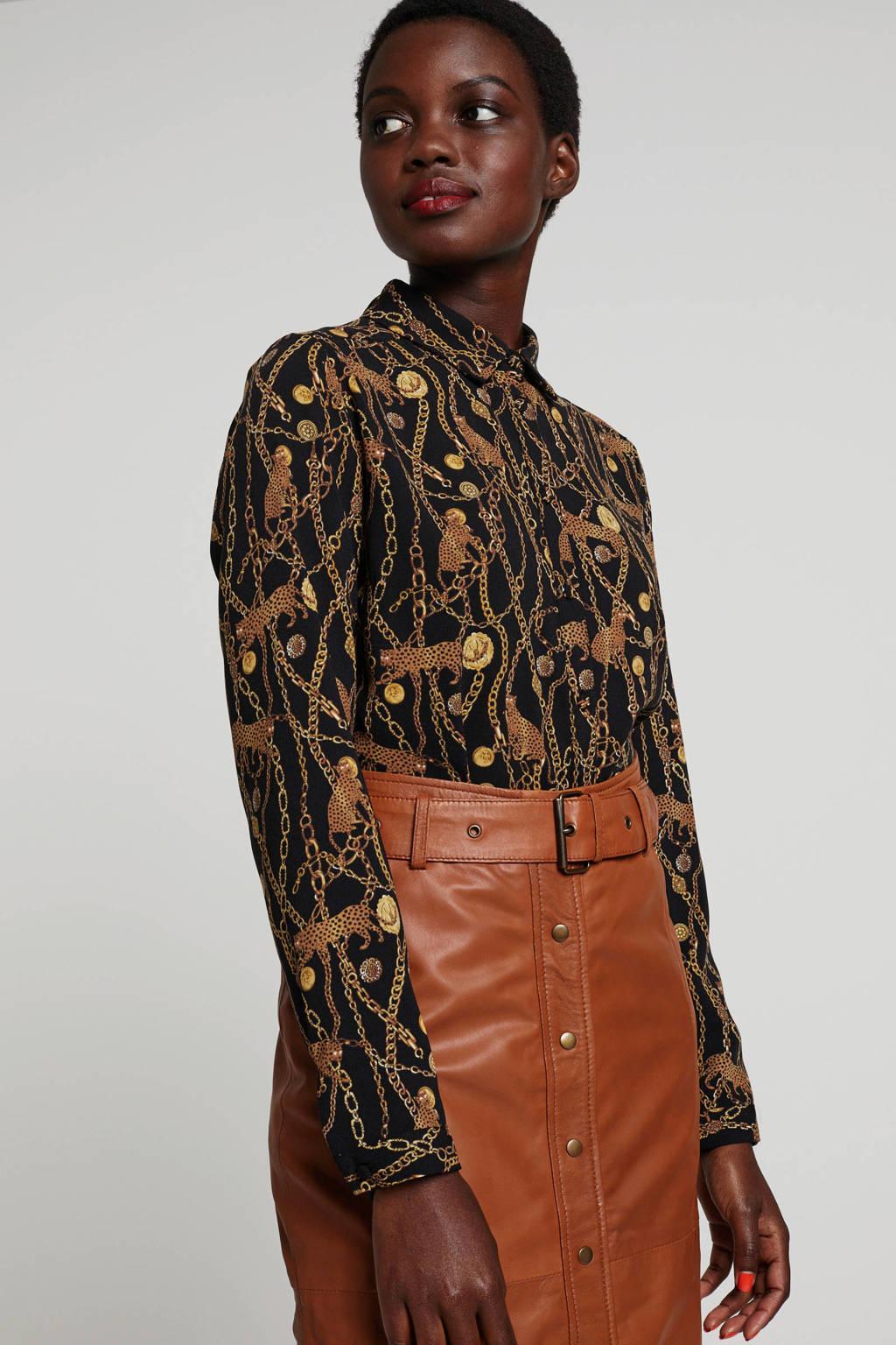 wehkamp blouse met all over print zwart/camel, Zwart/camel