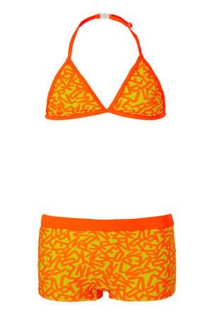 triangel bikini met letter print oranje