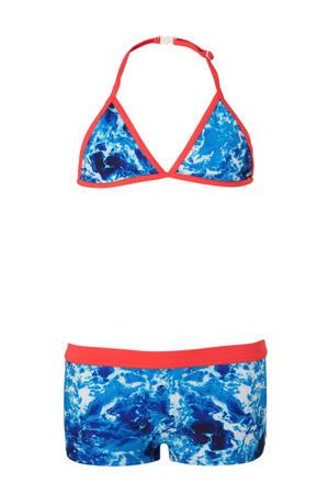 triangel bikini met water print blauw