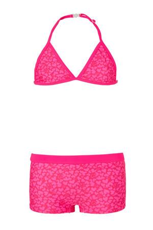 triangel bikini met hartjes print roze
