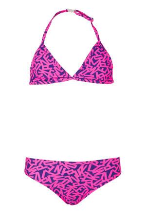 triangel bikini met letter print roze