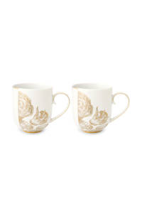 Pip Studio Royal mok (14,6 cm) (set van 2), Wit