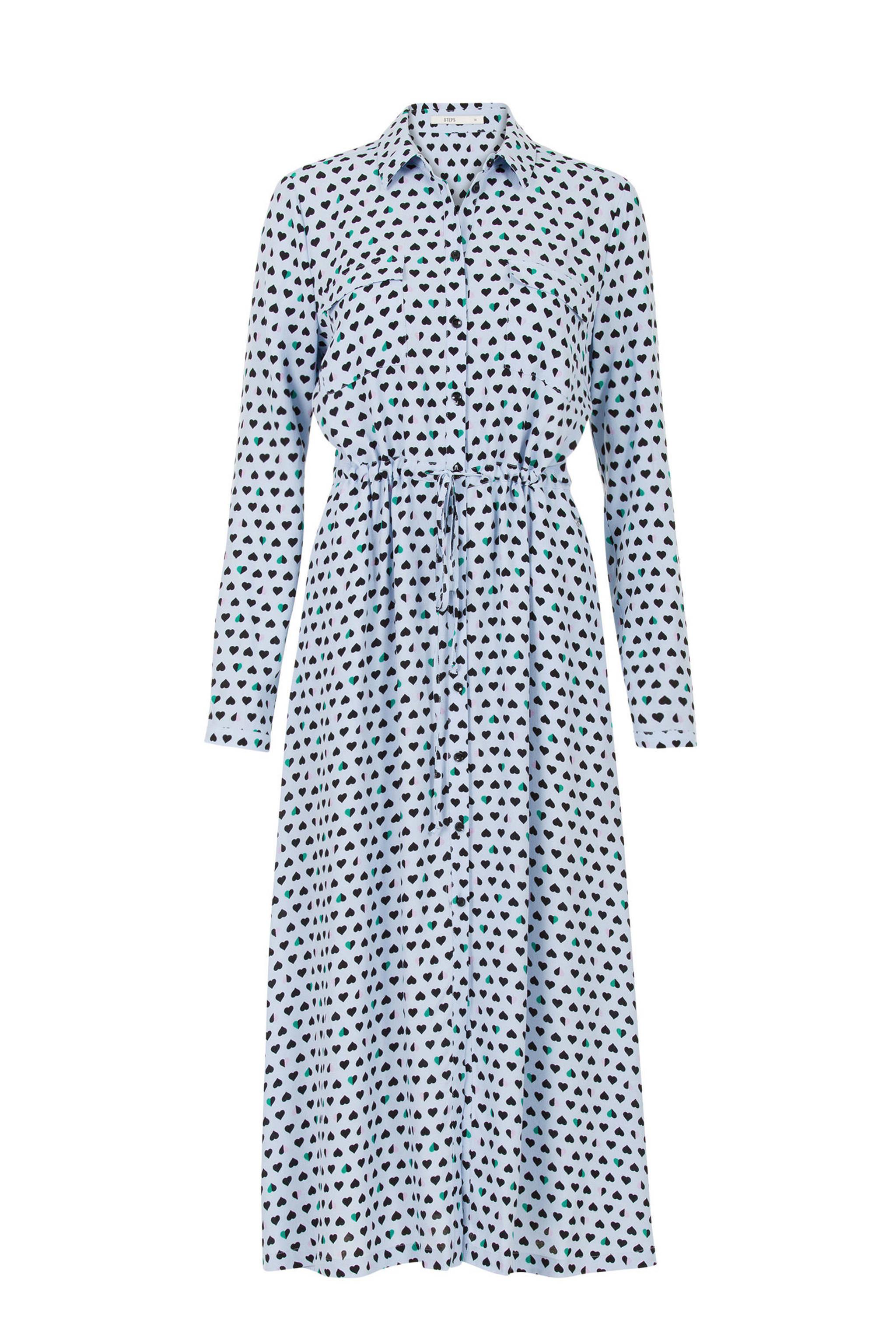 68a2302f6b546c Steps jurk met hartjes blauw | wehkamp