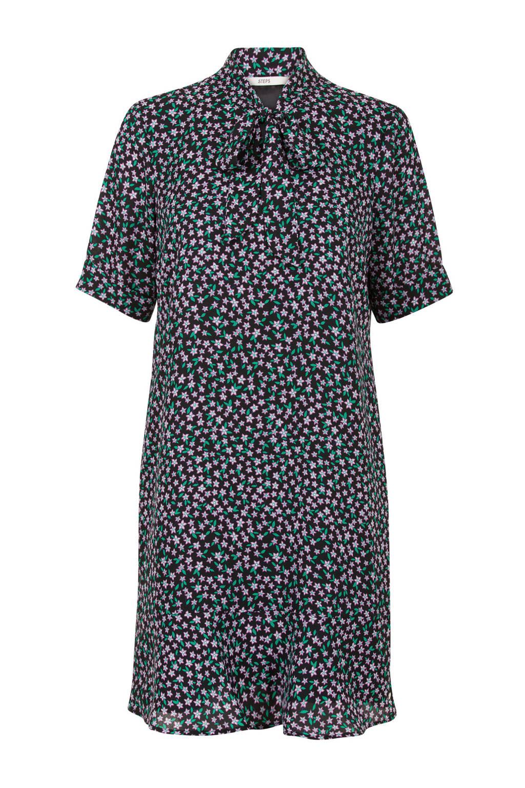 Steps gebloemde jurk zwart met strik, Zwart/groen/roze