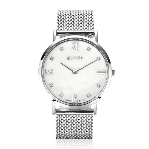 Zinzi ZIW521M Horloge Retro zilverkleurig 34 mm + Gratis armband