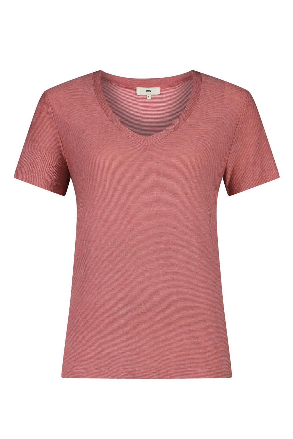 CKS Ebony T-shirt oudroze, Roodbruin