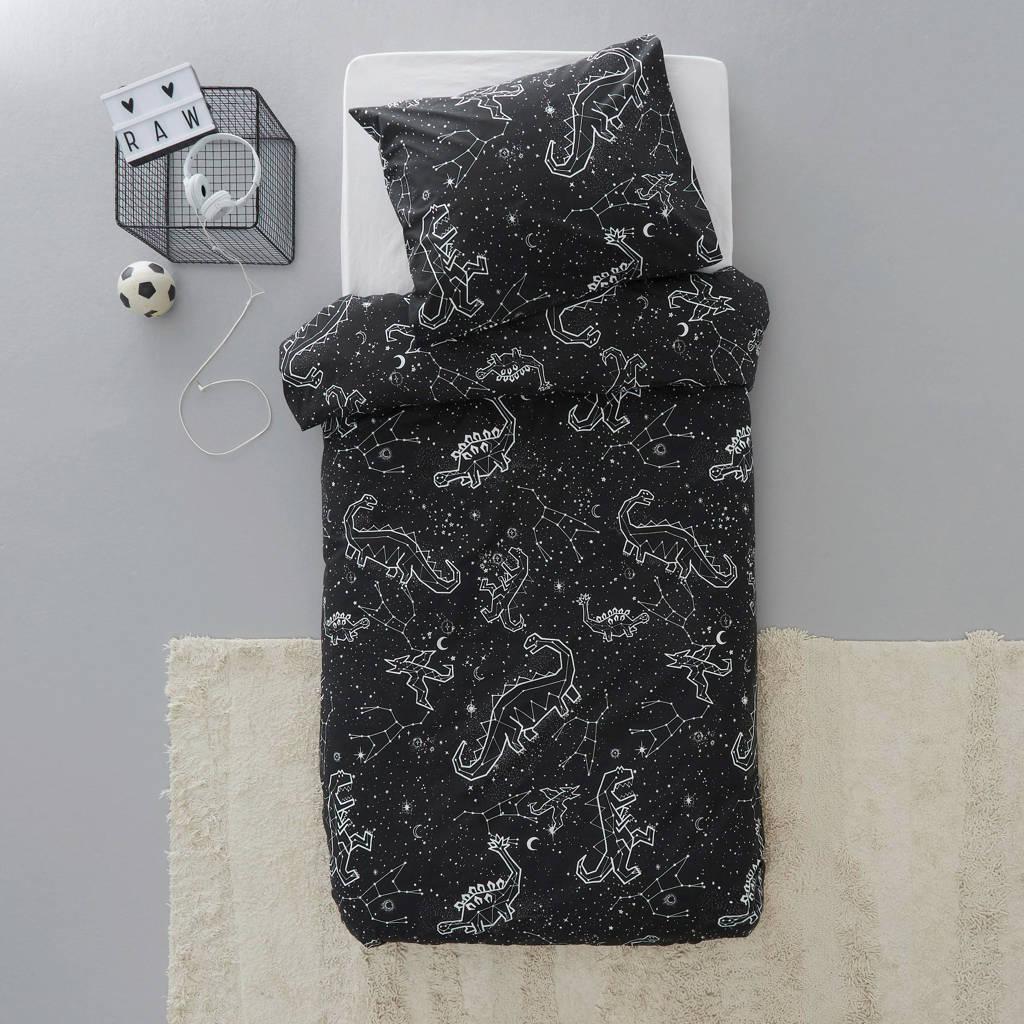 Wehkamp Home katoenen kinderdekbedovertrek, 1 persoons (140 cm breed), Zwart/wit