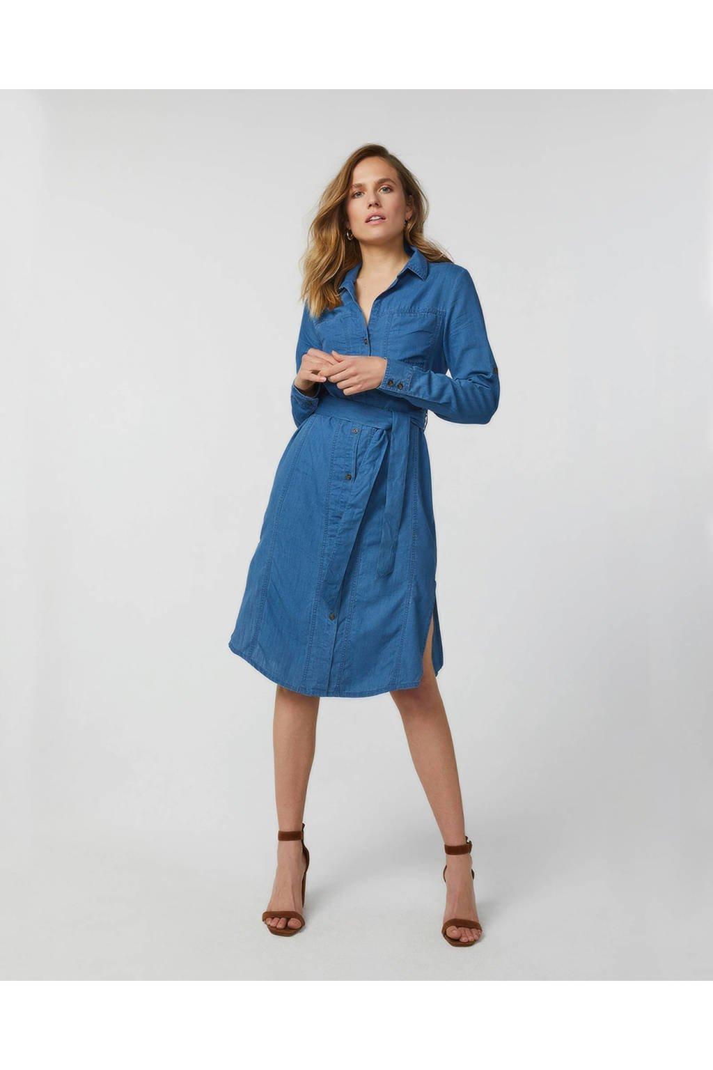 WE Fashion Blue Ridge blousejurk met ceintuur, Light denim
