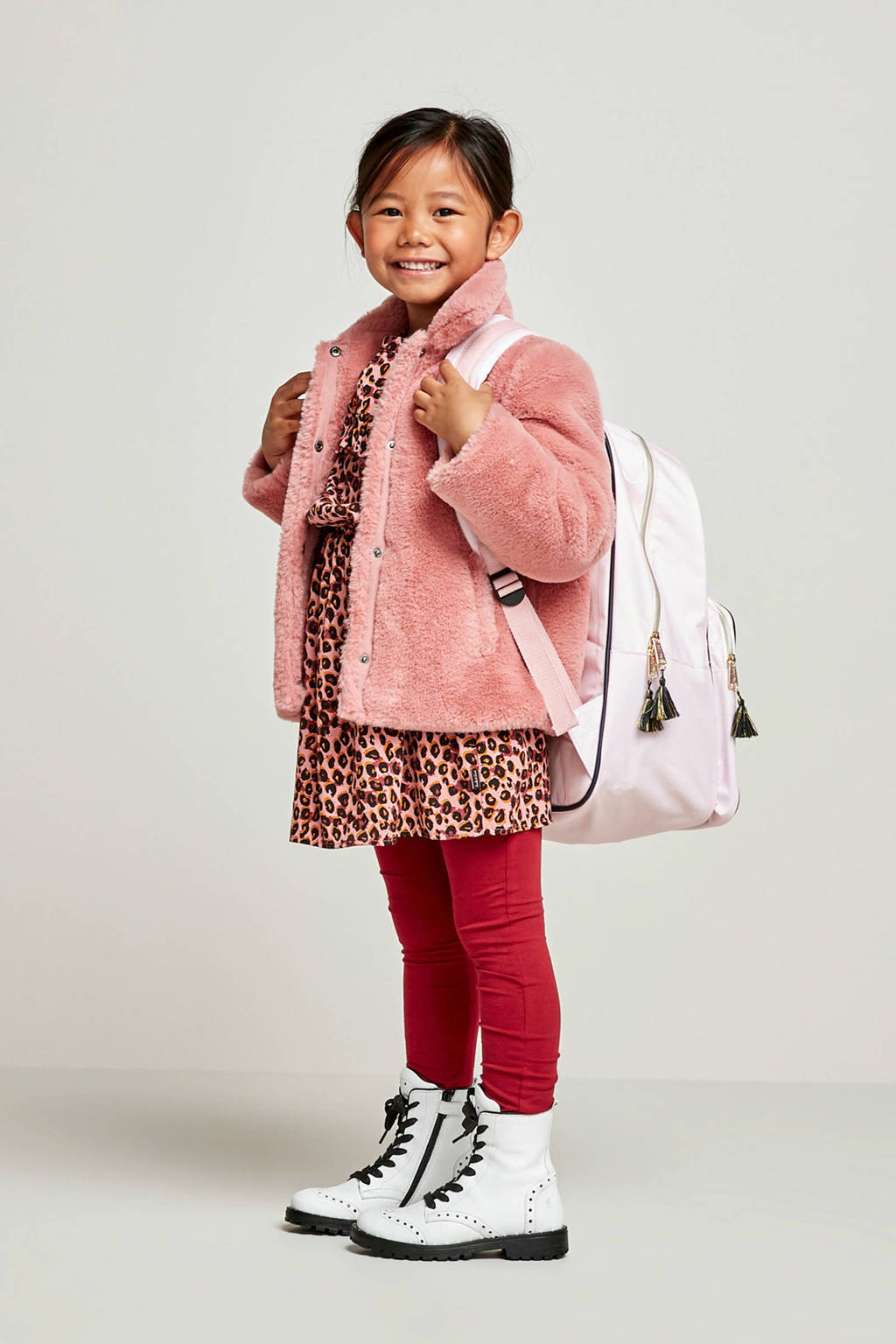 WE Fashion jurk met panterprint en ruches roze, Roze