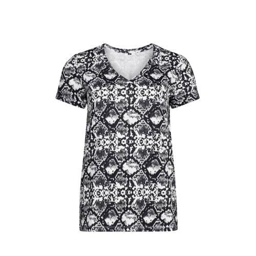 WE Fashion T-shirt met slangenprint zwart/wit