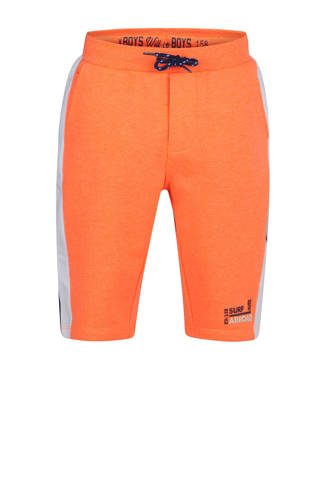 sweatshort met all over print oranje/donkerblauw/lichtgrijs