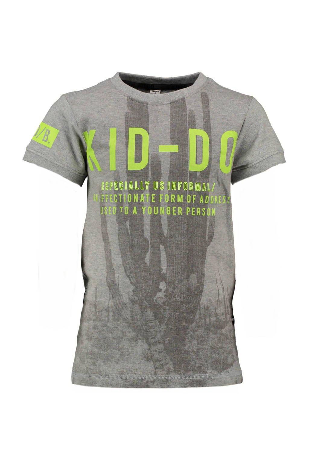 KIDDO T-shirt met tekst grijs, Grijs/lime