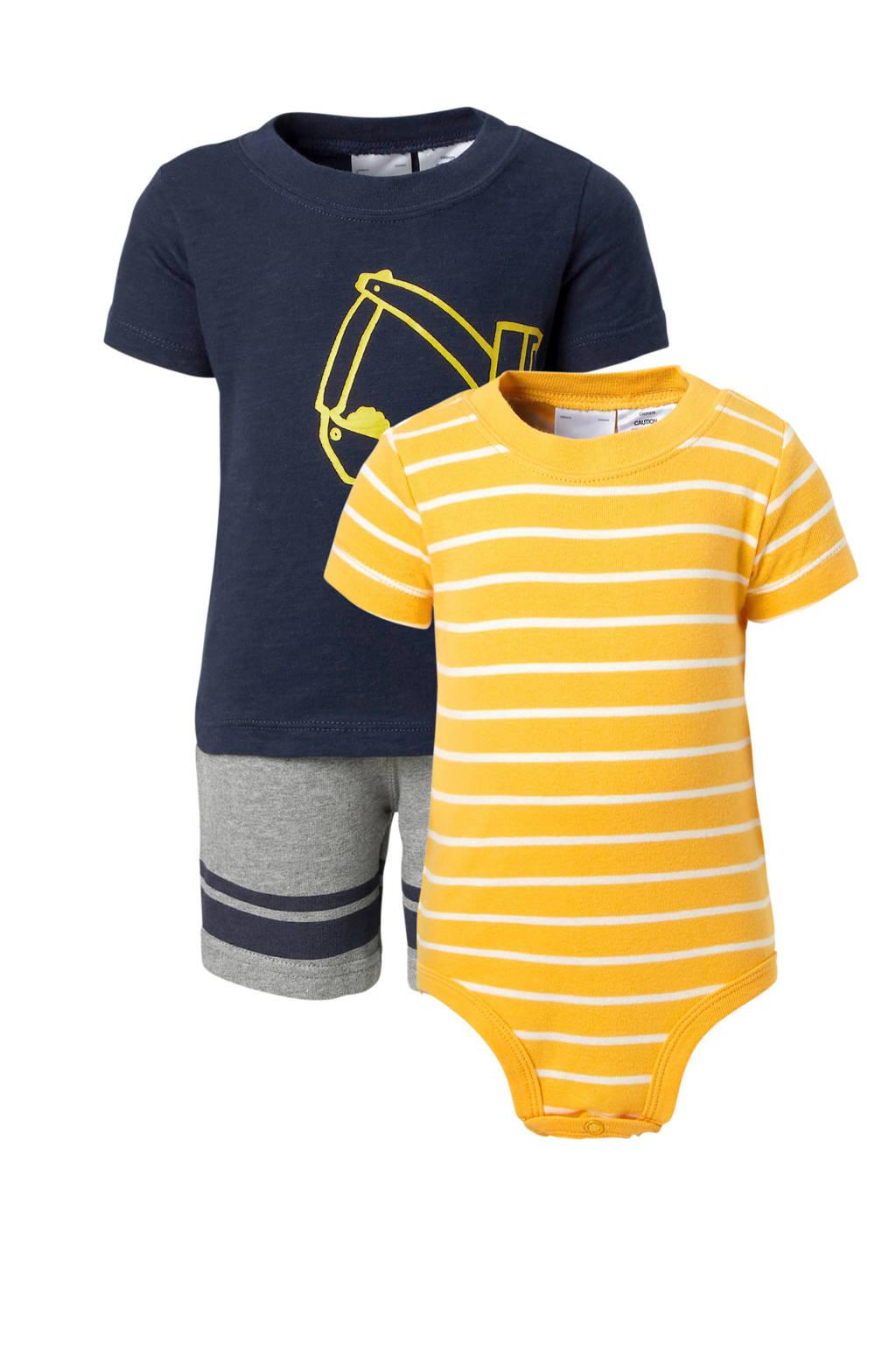 Carter's   baby shortama + romper, Donkerblauw/geel