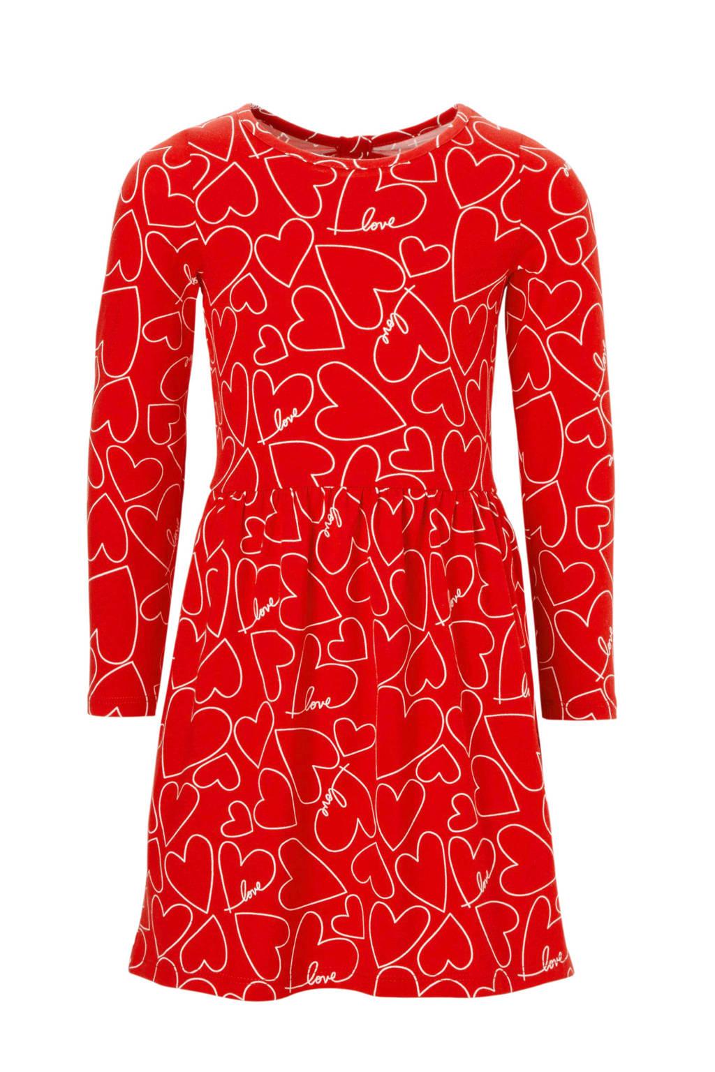 Carter's jurk met hartjes en open detail rood, Rood/wit