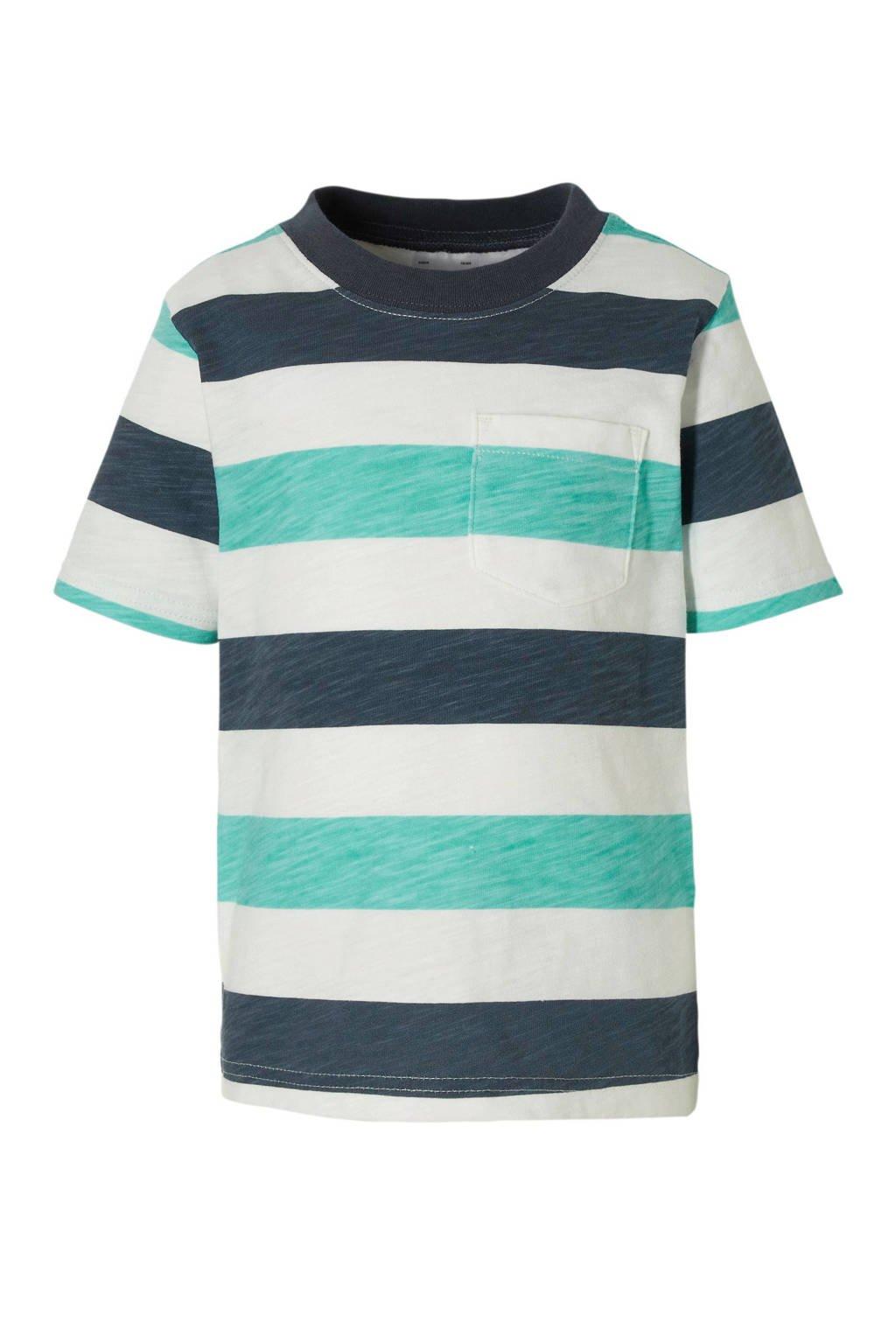 Carter's baby gestreept T-shirt donkerblauw/groen/wit, Donkerblauw/groen/wit