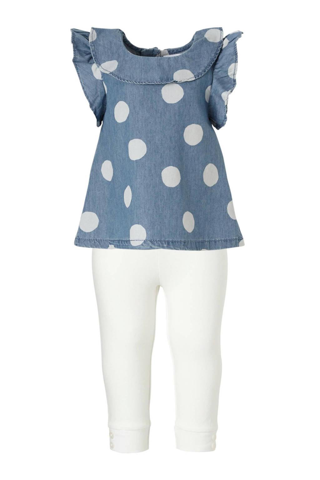 Carter's gestipte baby jurk met uni legging blauw/wit, Blauw/wit
