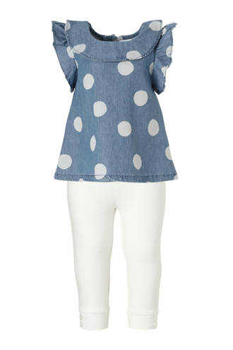 gestipte baby jurk met uni legging blauw/wit