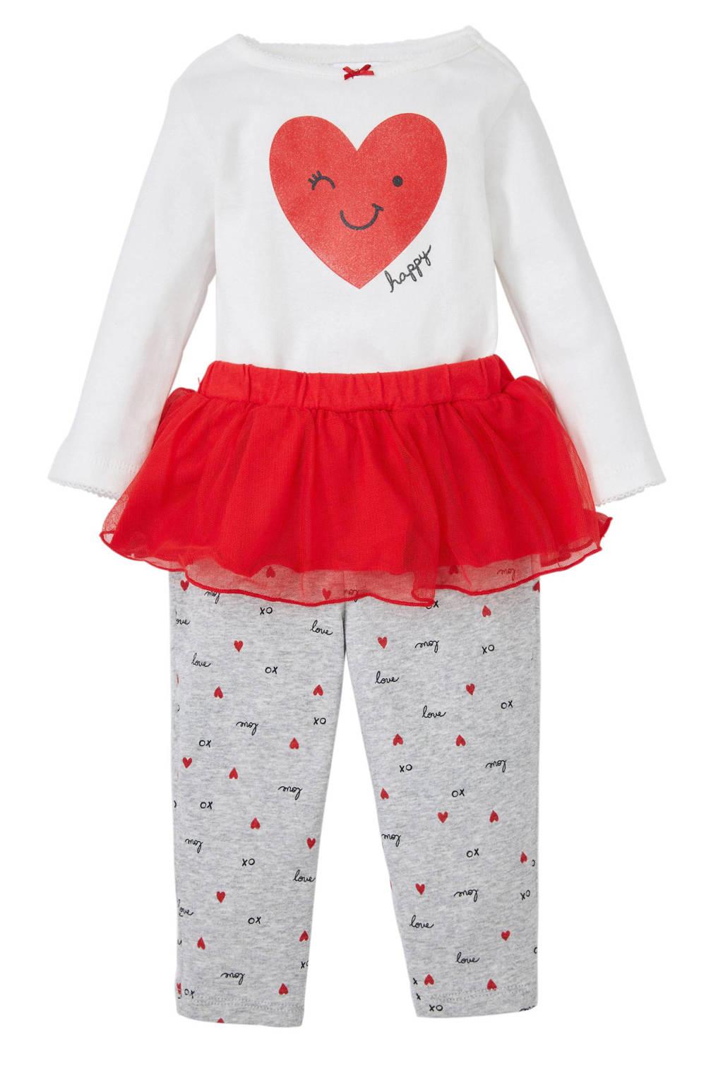 Carter's baby romper + legging met rok, Ecru/rood/grijs