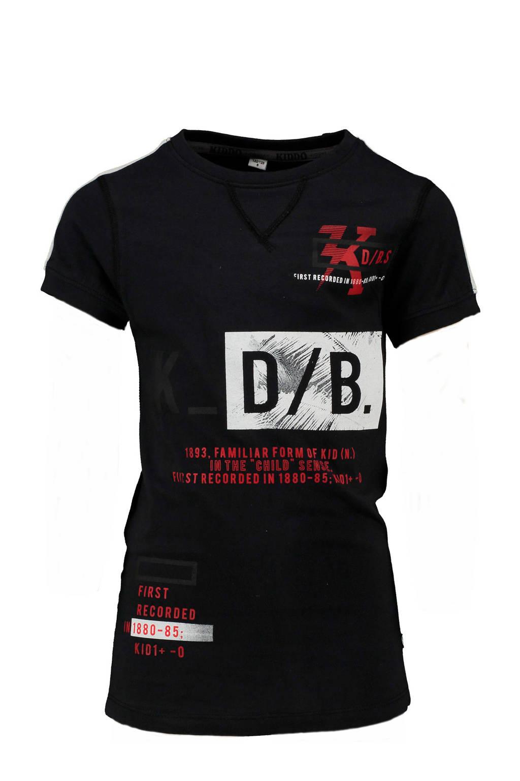 KIDDO T-shirt  met tekst grijs, Antraciet/rood