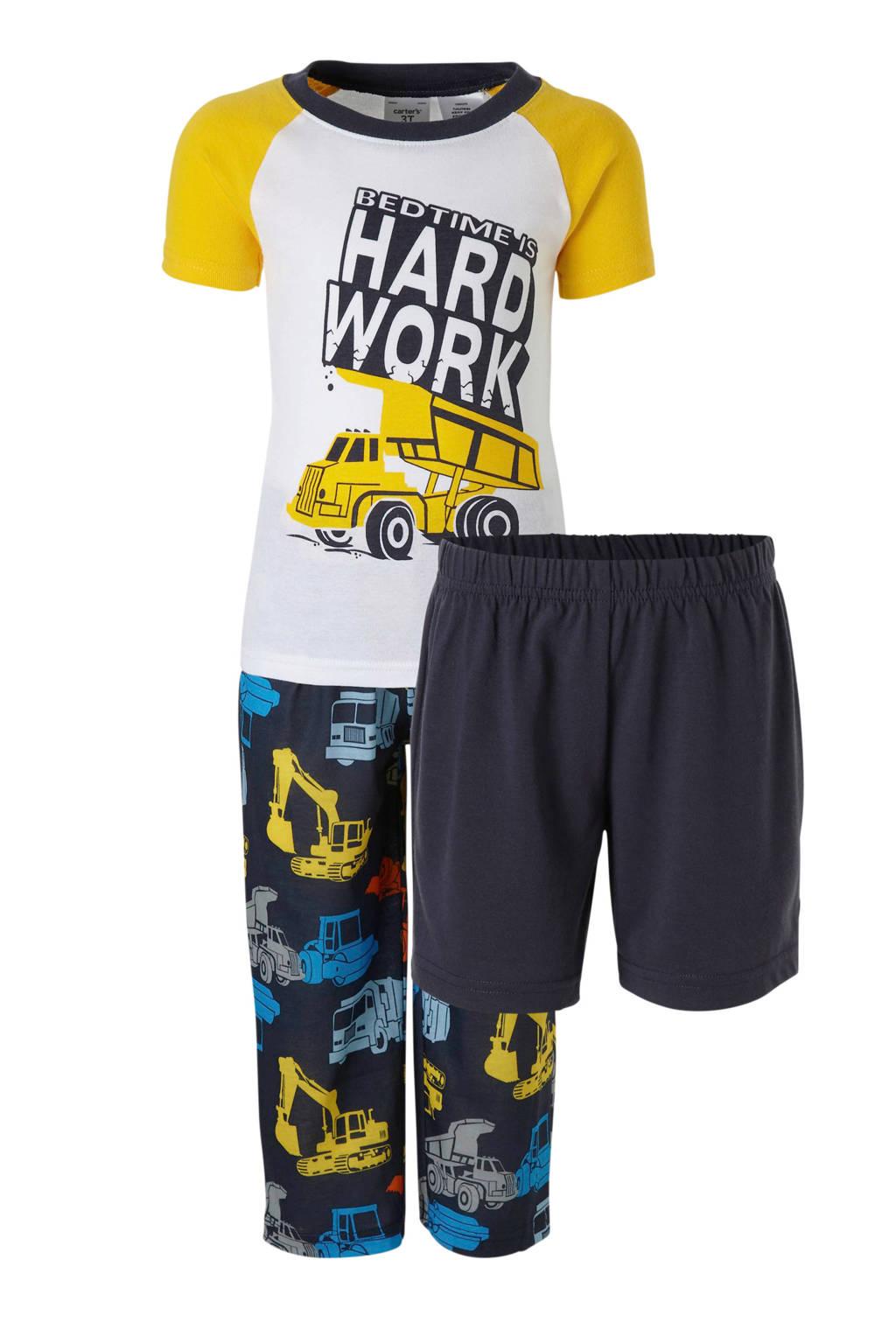 Carter's   pyjama met graafmachine, Blauw/wit/geel