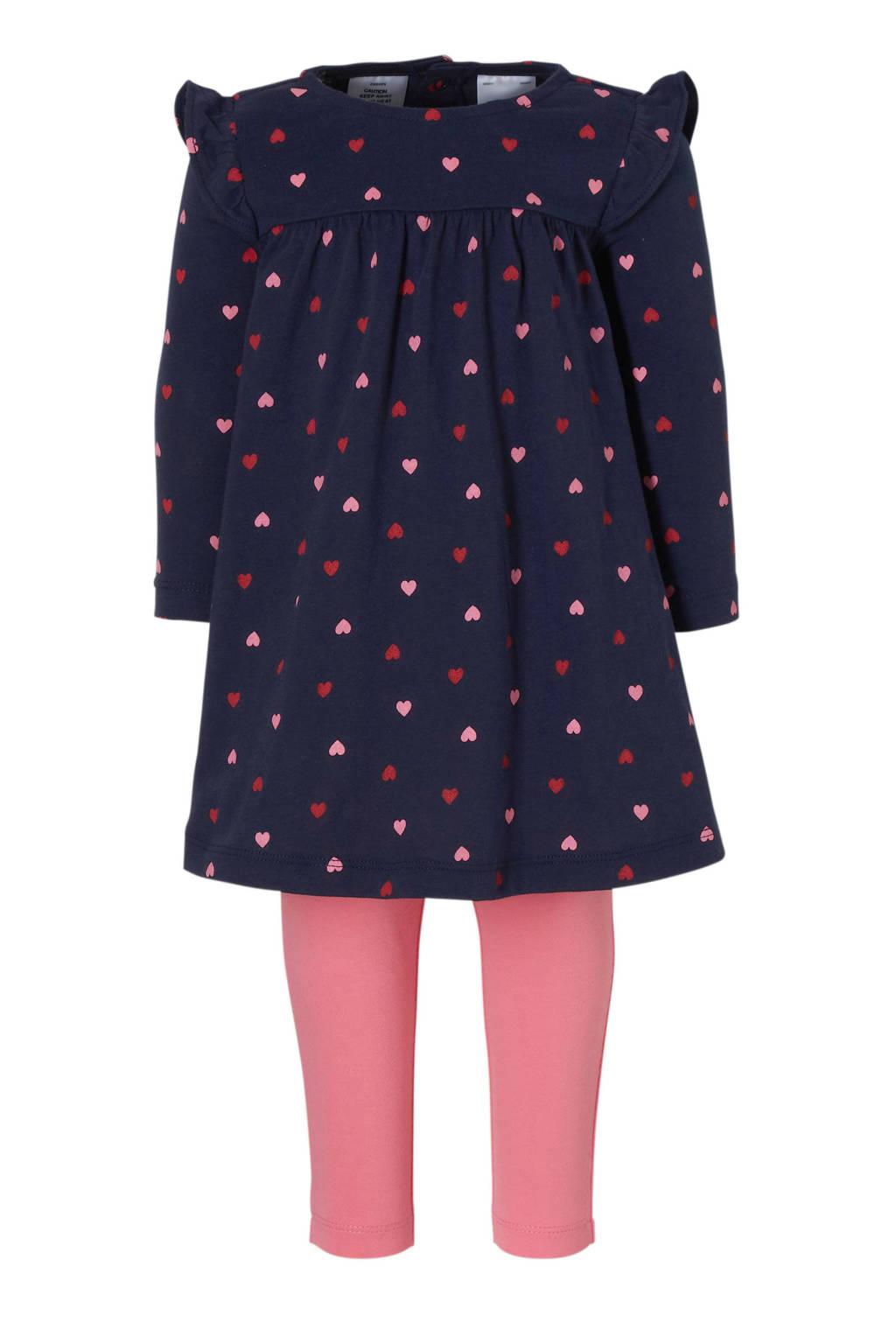 Carter's baby jurk + legging blauw, Donkerblauw/roze