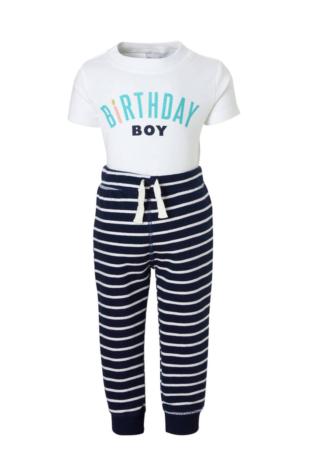 Carter's baby romper + broek, Wit/donkerblauw