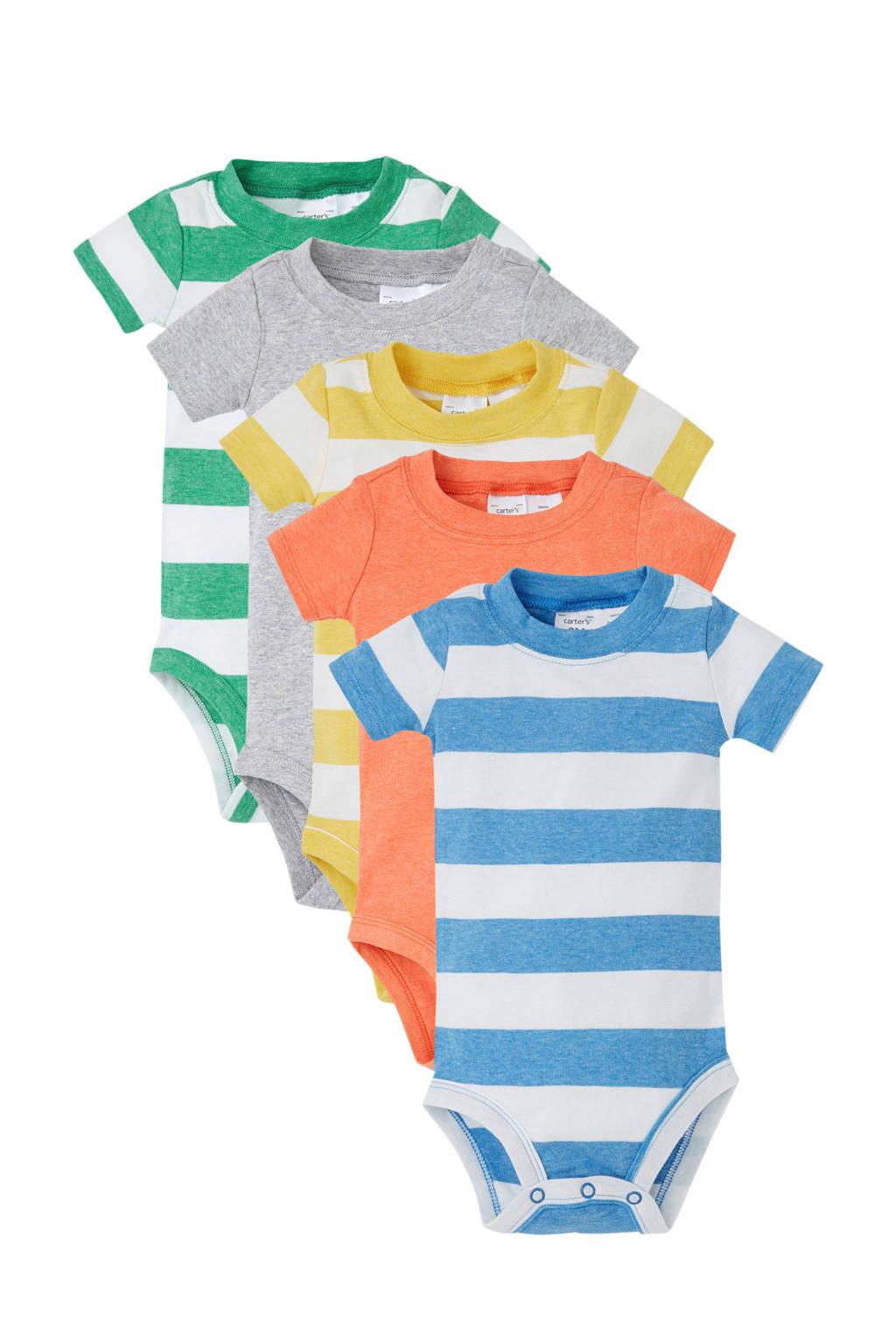 Carter's newborn baby romper, Groen/geel/oranje/blauw