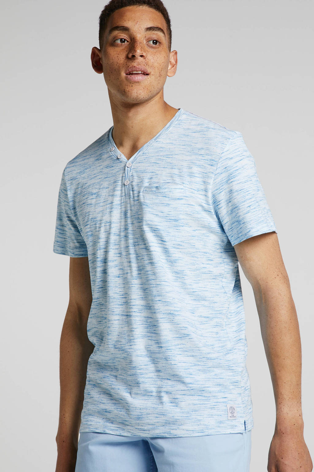 Tom Tailor T-shirt blauw, Blauw/wit