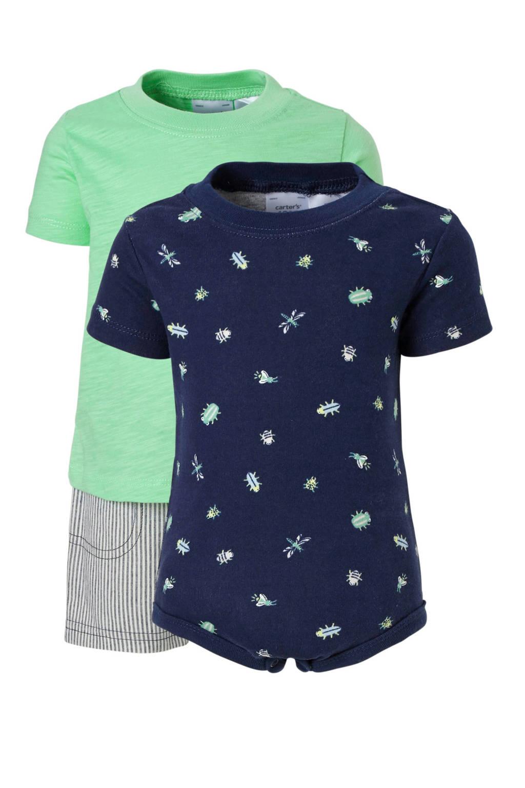 Carter's 2 baby T-shirts met korte broek groen/donkerblauw, Groen/donkerblauw/grijs
