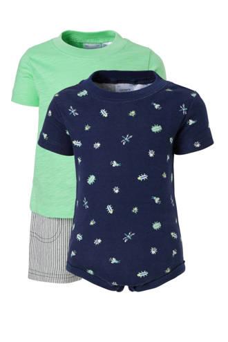 2 baby T-shirts met korte broek groen/donkerblauw