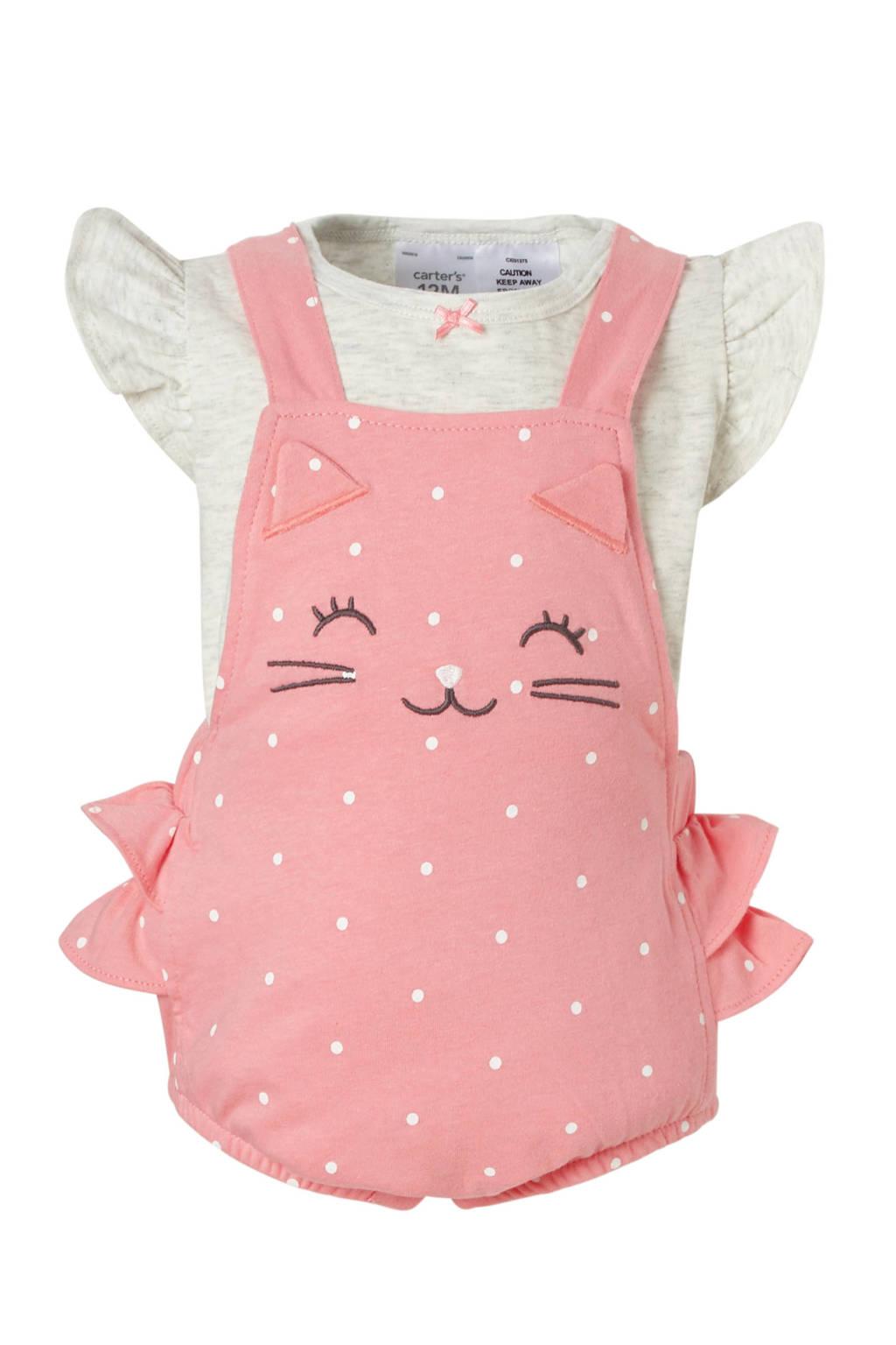 Carter's baby T-shirt met tuinbroek, Roze/ grijs melange
