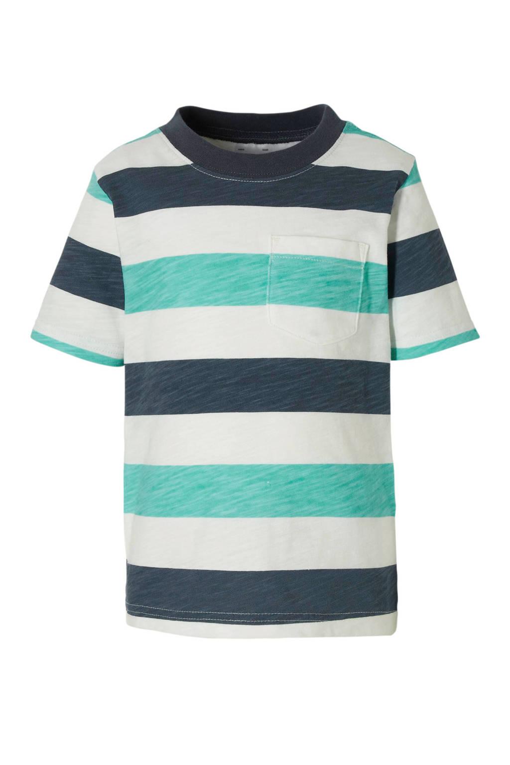 Carter's gestreept T-shirt blauw/groen, Donkerblauw/groen/wit