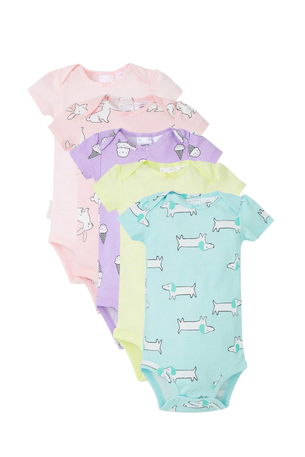 Carter's baby romper - set van 5, Roze/lila/geel/mintgroen