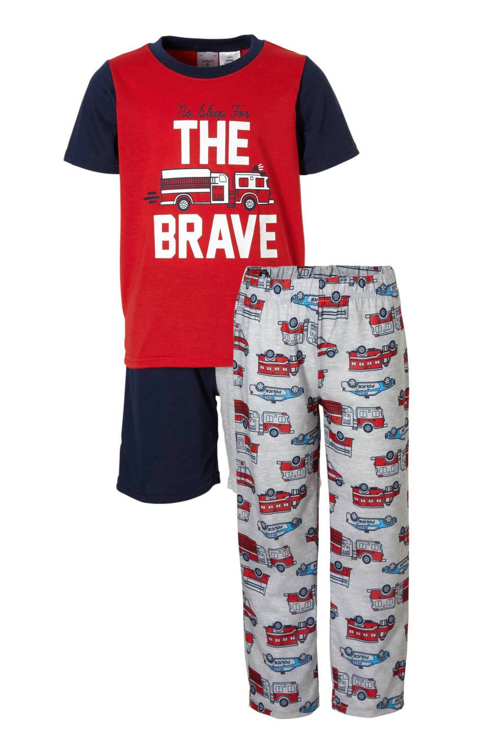 Carter's   brandweer pyjama rood, Rood/grijs