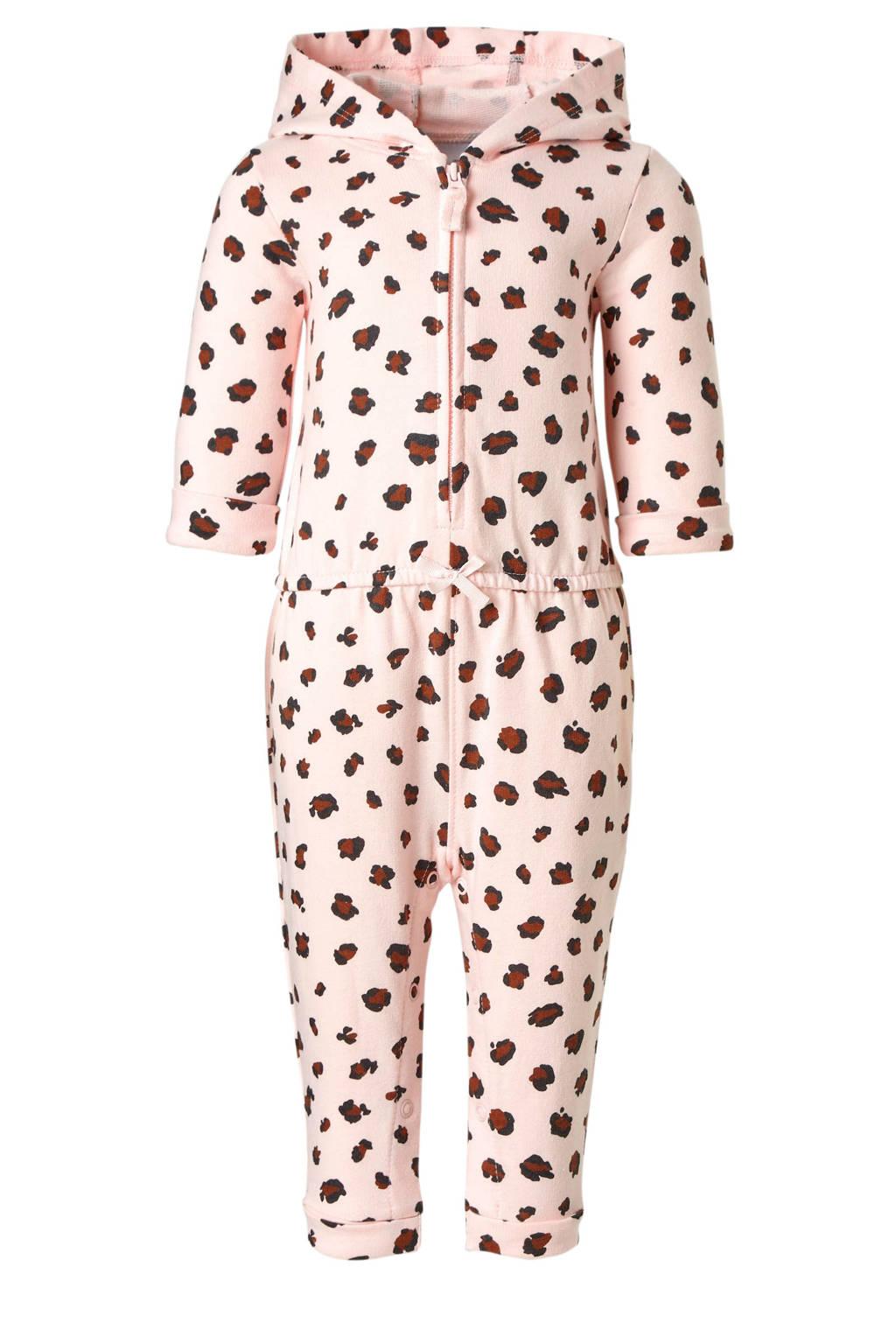 Carter's jumpsuit met panterprint en capuchon roze, Roze/zwart