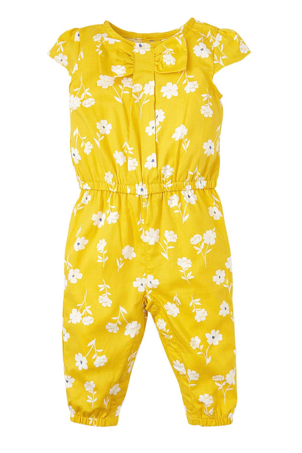 Carter's baby gebloemde jumpsuit geel, Geel/wit