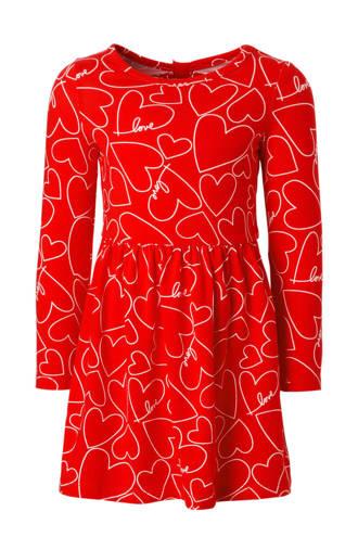 jurk met hartjes en open detail rood