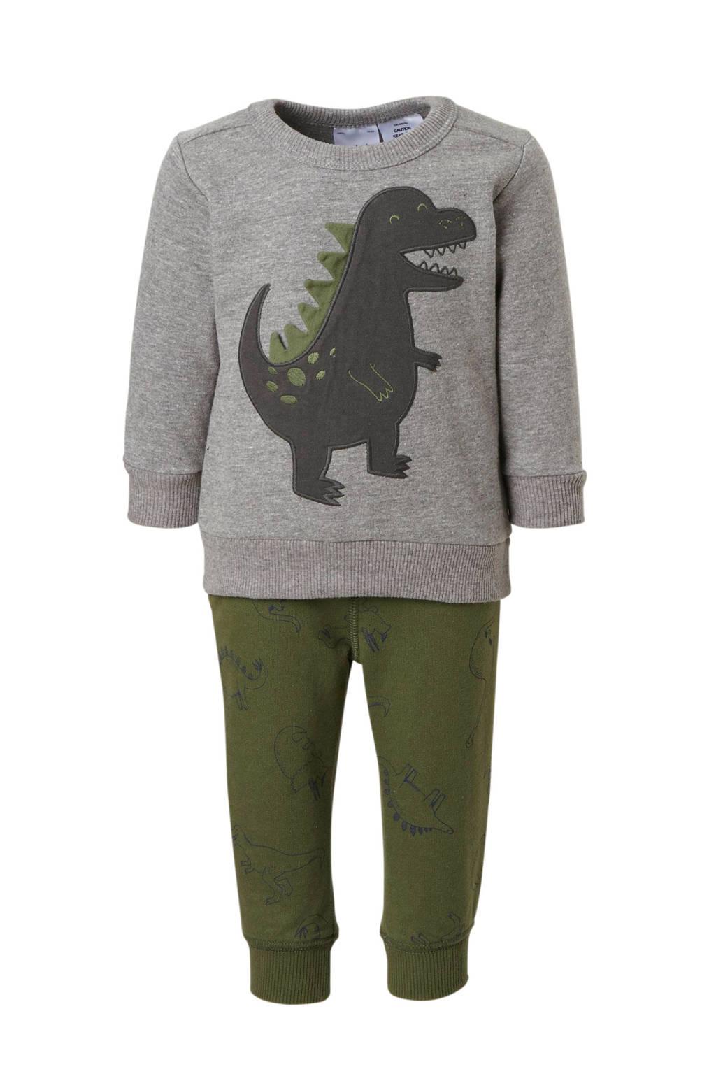 Carter's sweater met broek grijs/groen, Grijs melange/olijfgroen
