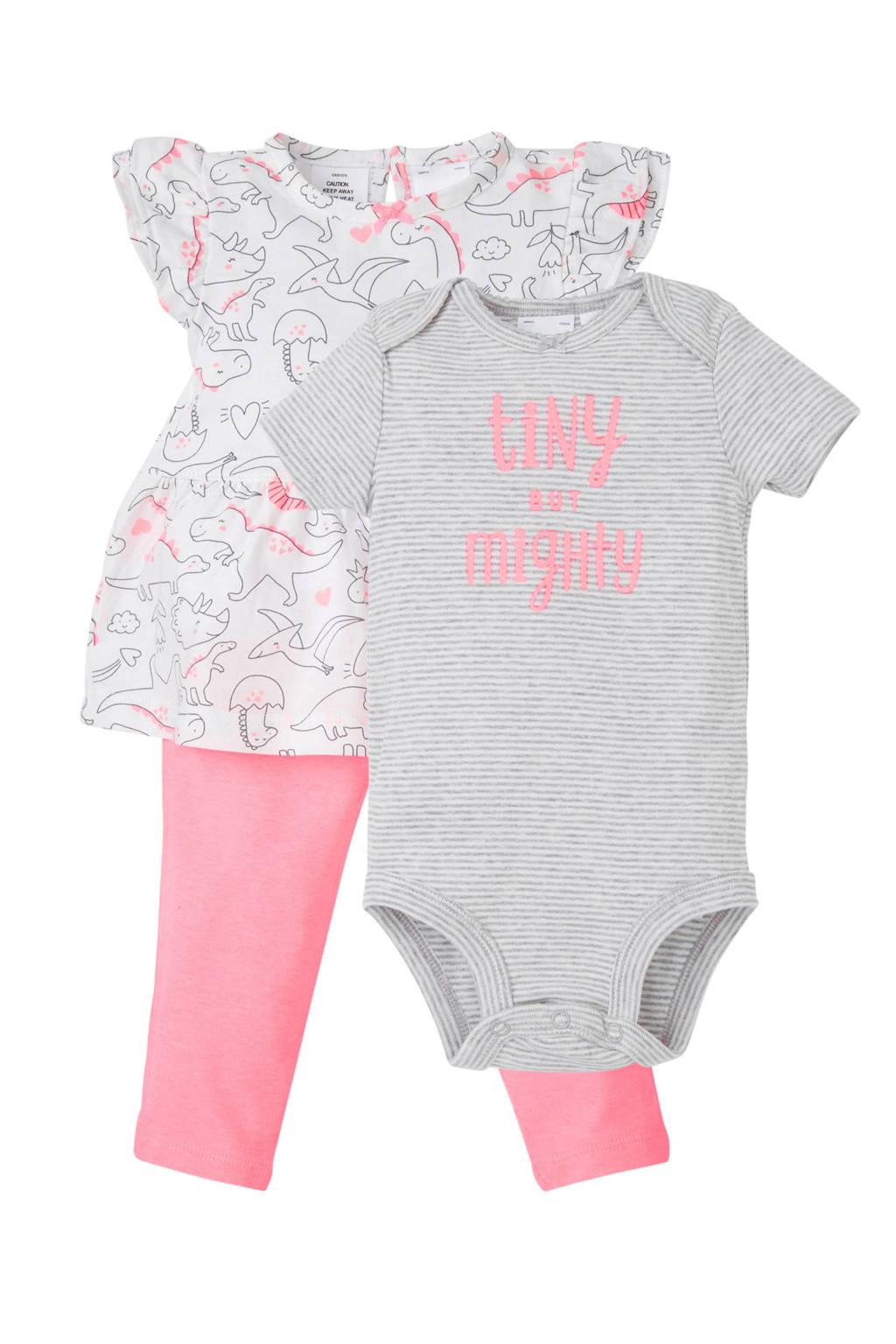 Carter's baby jurk met legging en romper roze, Roze/wit/grijs