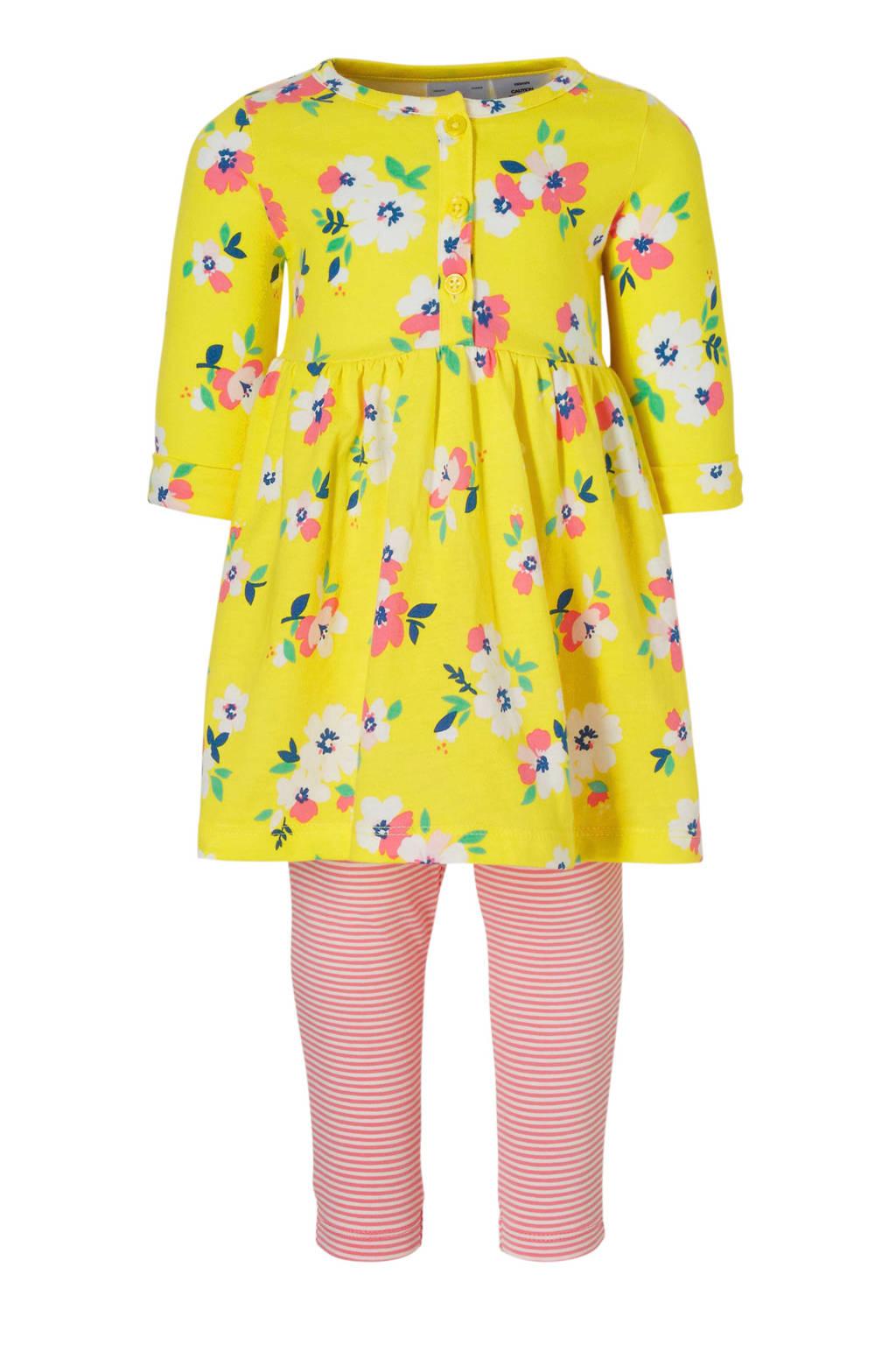 Carter's baby gebloemde jurk + legging, Geel/roze/wit
