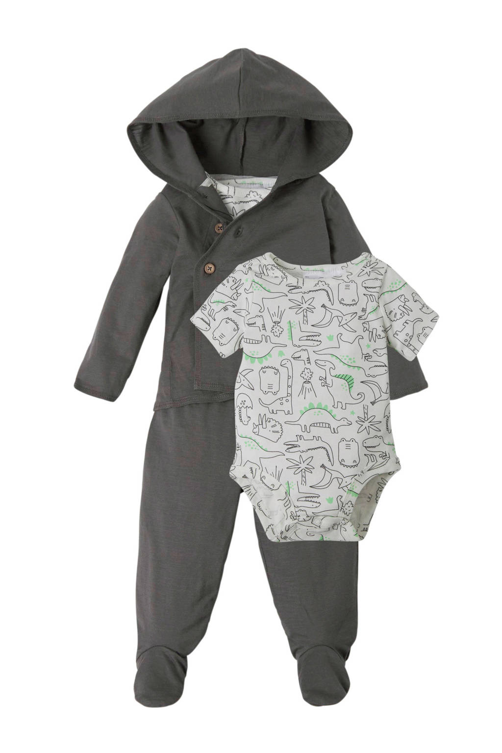 Carter's newborn baby vest + broek + romper, Donkergrijs/lichtgrijs