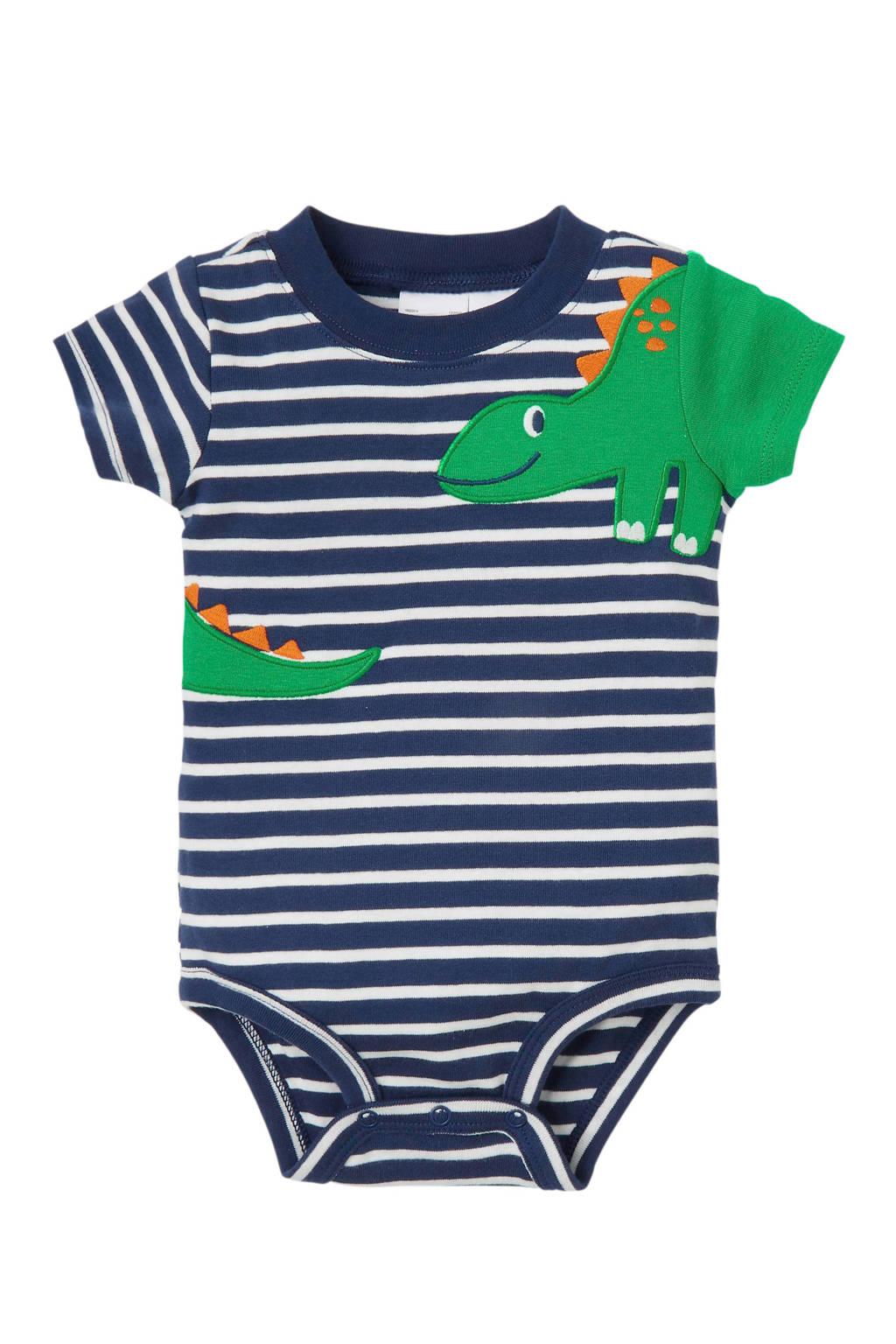 Carter's baby gestreepte romper met dino blauw, Blauw/wit/groen
