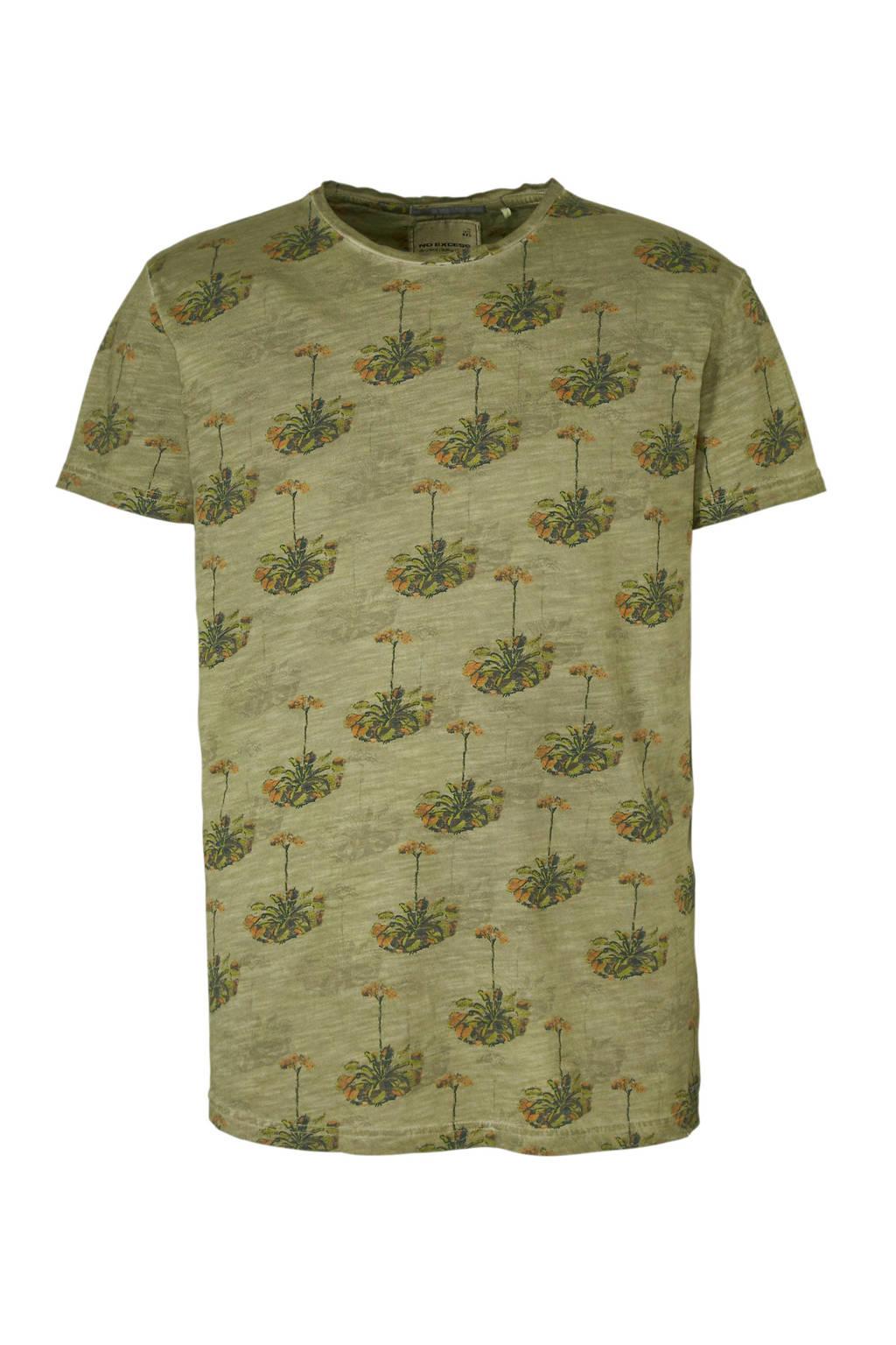 No Excess T-shirt met all over print, Groen