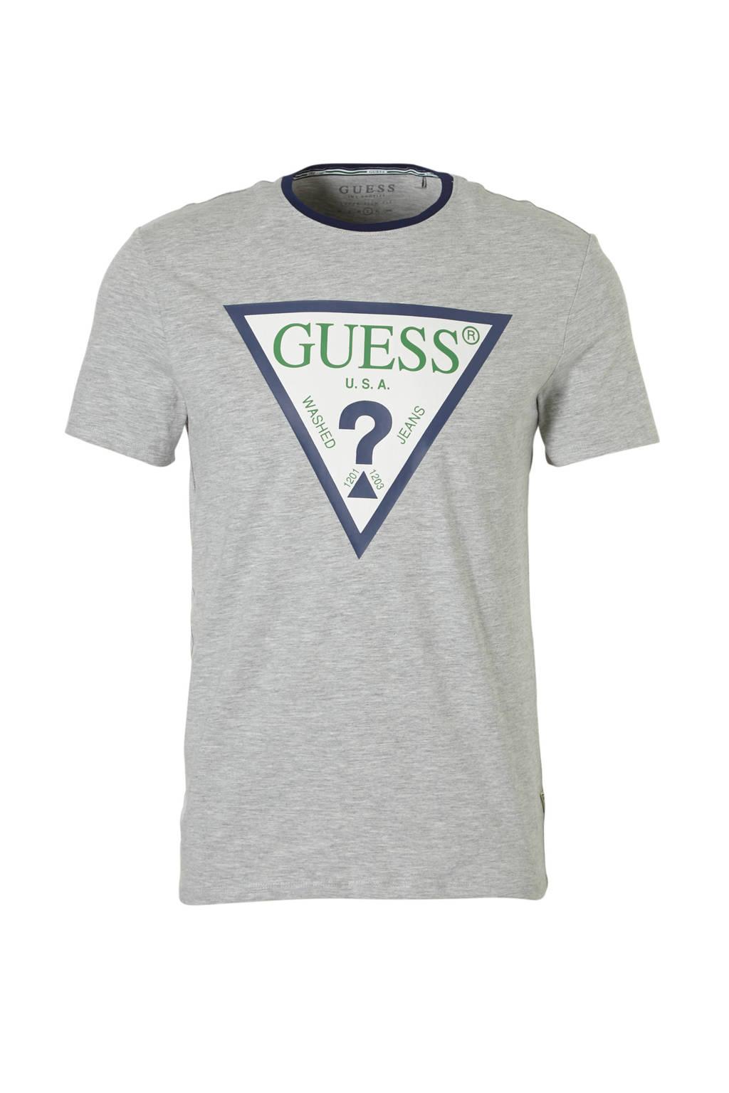 GUESS gemêleerd T-shirt met logo grijs, Grijs