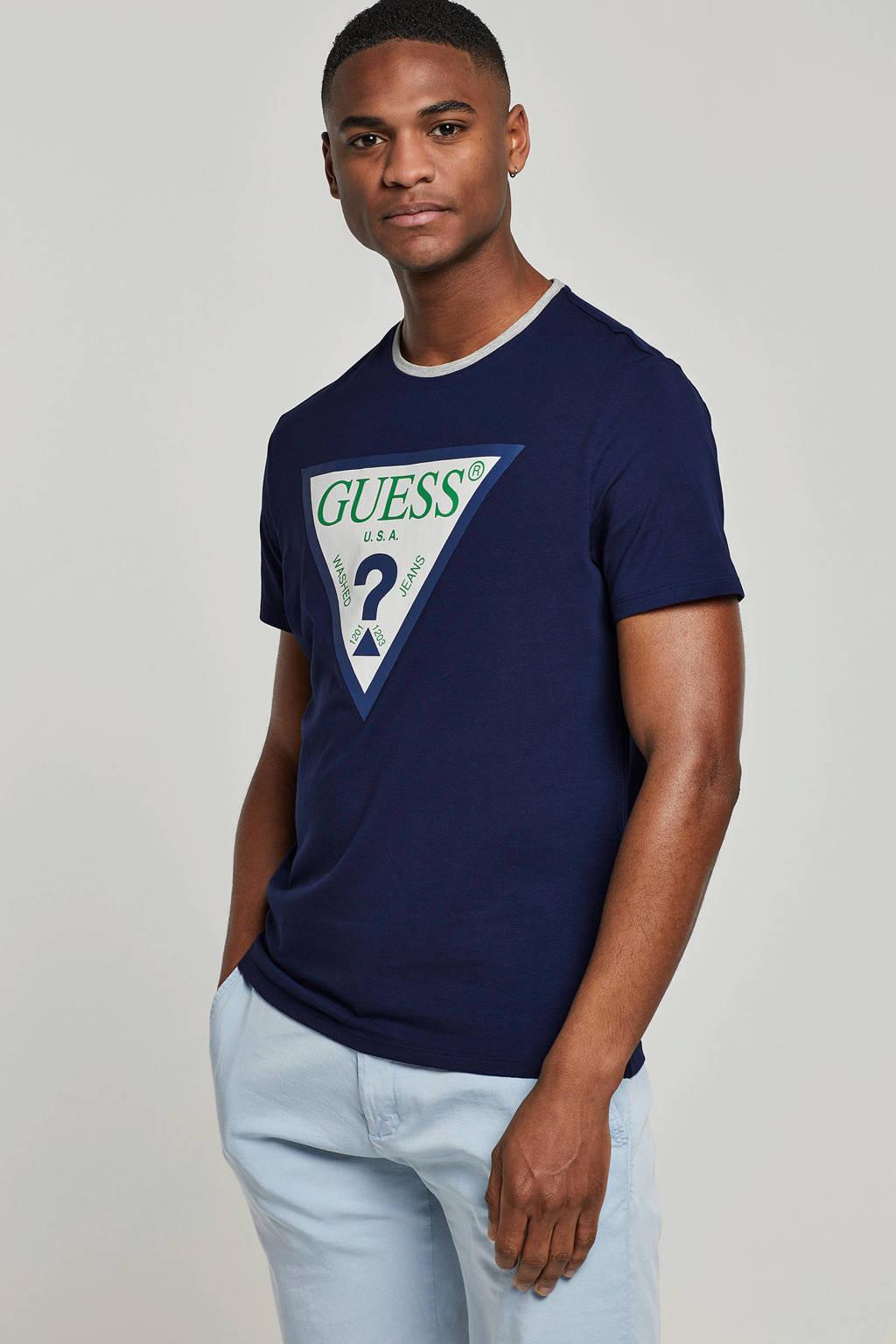 GUESS T-shirt met logo blauw, Blauw