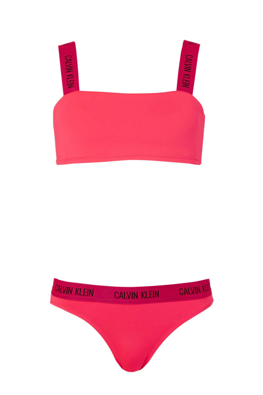 Calvin Klein bandeau bikini fluor roze, fluorroze