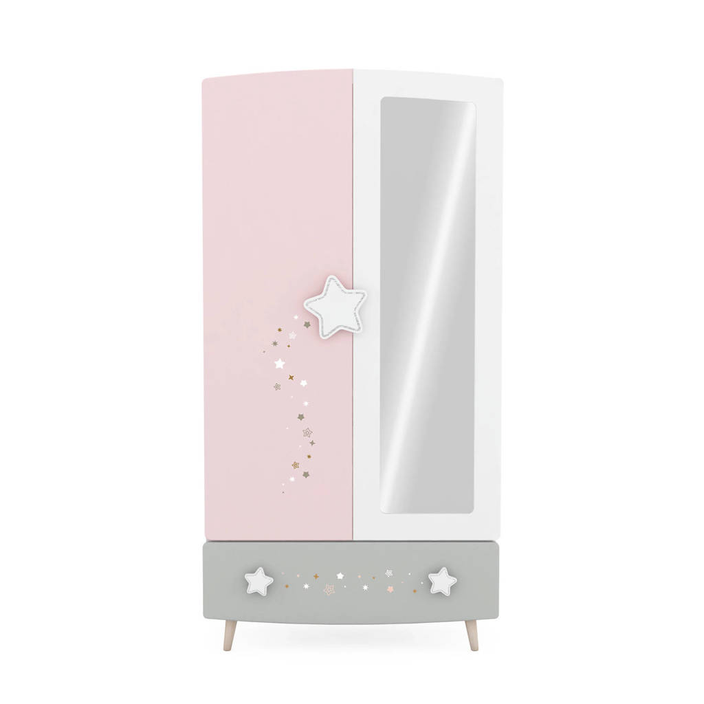 anytime Kledingkast Stella, Wit/roze/grijs